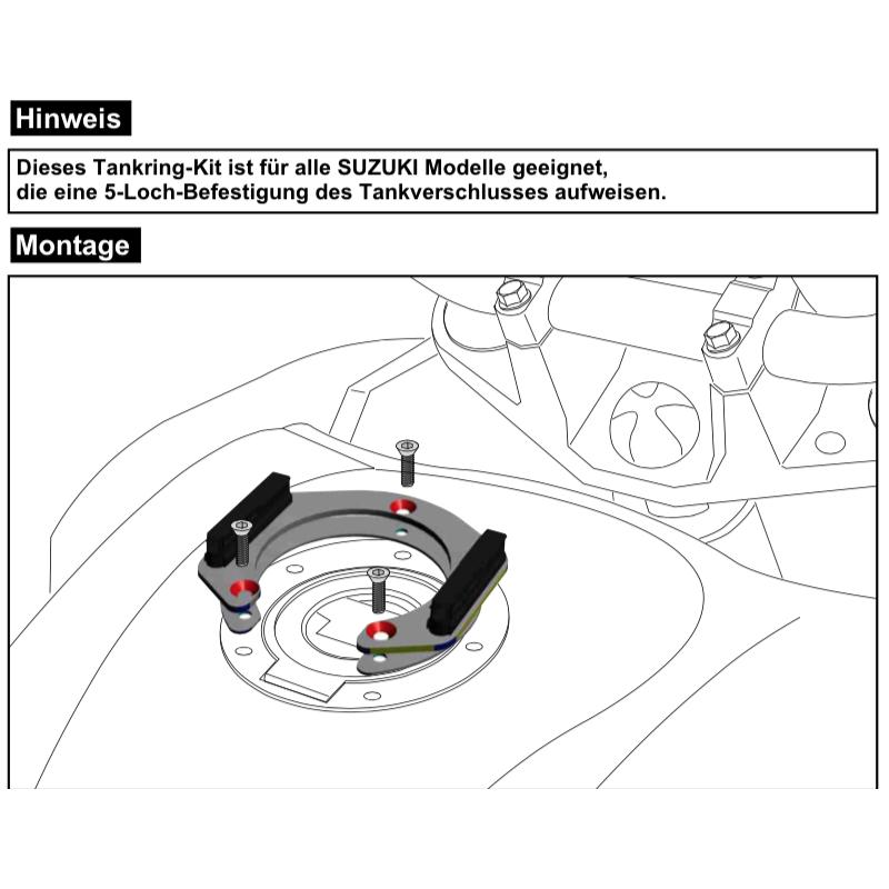 GSX 1250 FA à partir de 2010 / SA à partir de 2015 ✓ Support sacoche réservoir Hepco-Becker