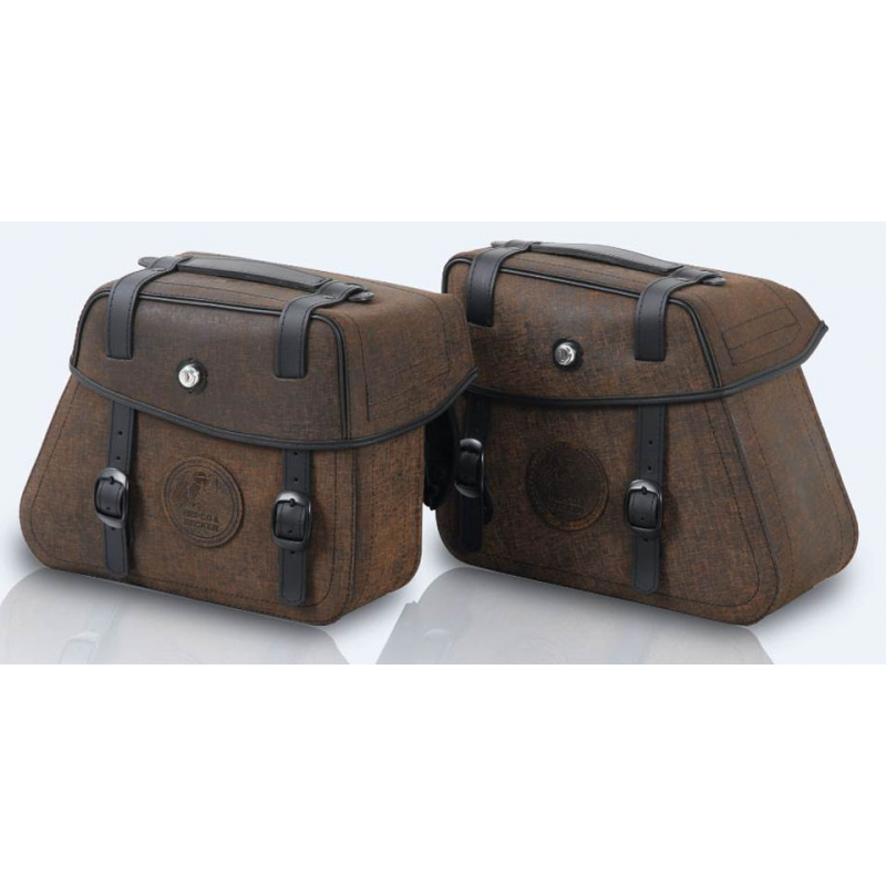 Bagagerie Hepco-Becker / Krauser ✓ Sacoches Cuir Rugged Brown Cutout HEPCO-BECKER - La paire